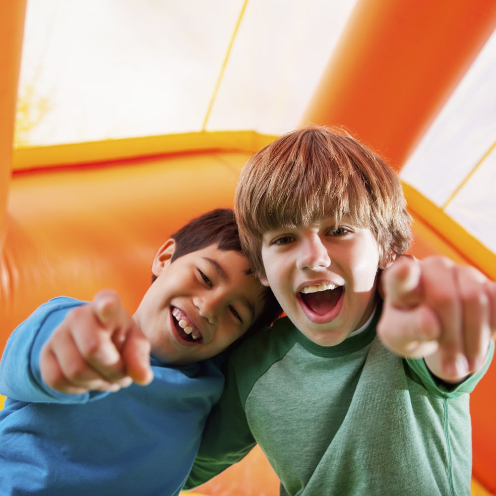 Boys in bounce house