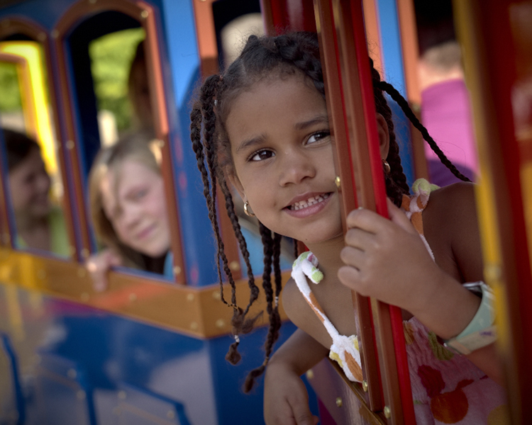 24 kinderzitplaatsen in de 4 wagonnetjes